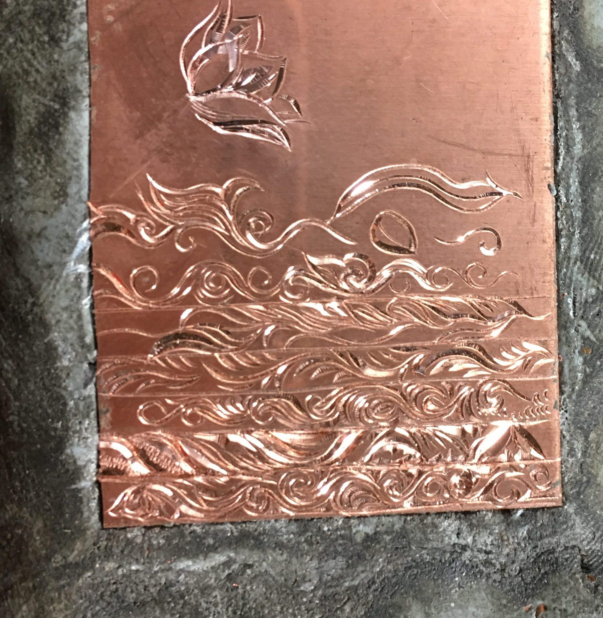 銅板への彫金