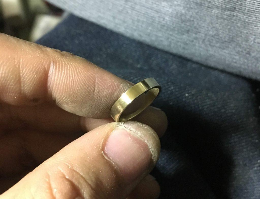 真鍮平打ちリング