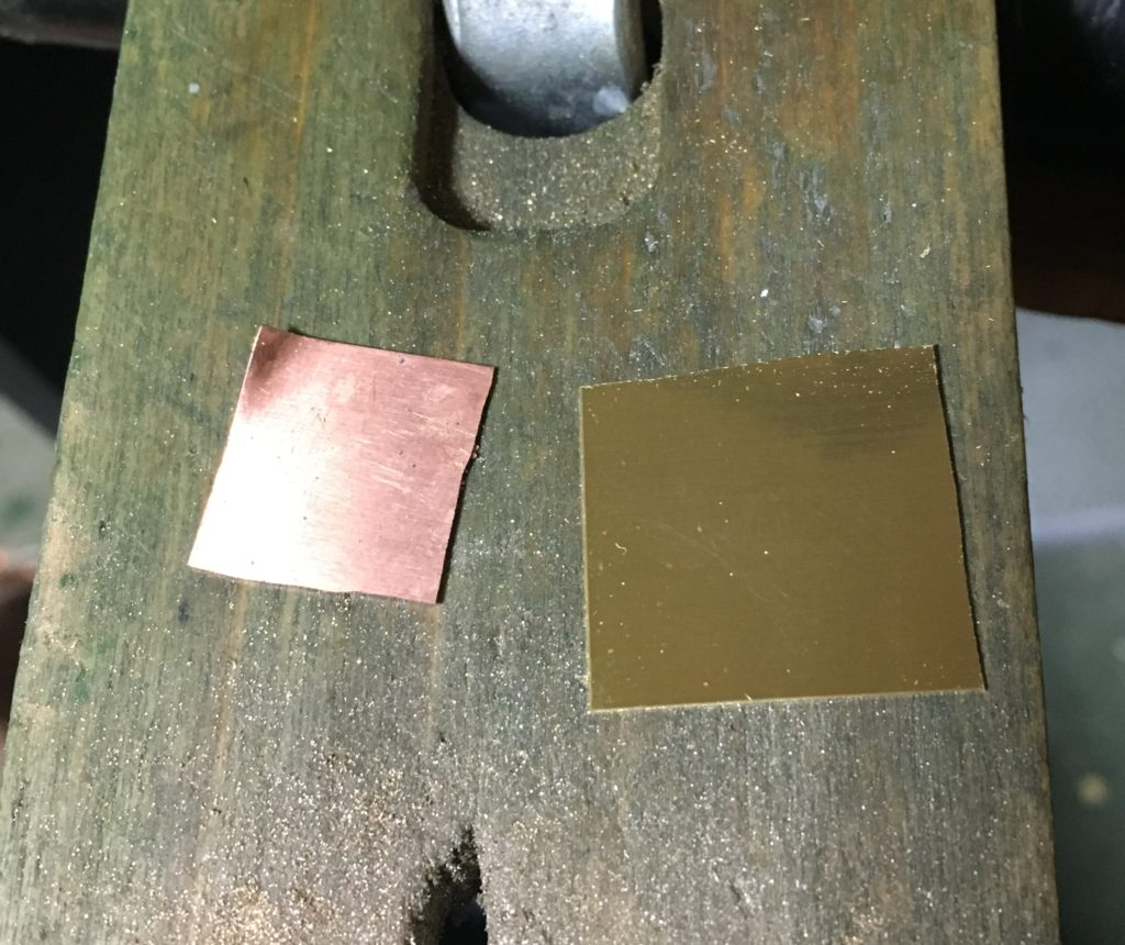 0.3mmの銅板と真鍮板
