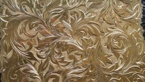 ファッションワールド会期中の彫金実演真鍮板