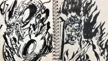 彫金のデザインを筆ペンで描く。