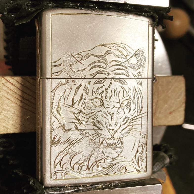 真鍮zippo虎カスタムデザイン段取り2