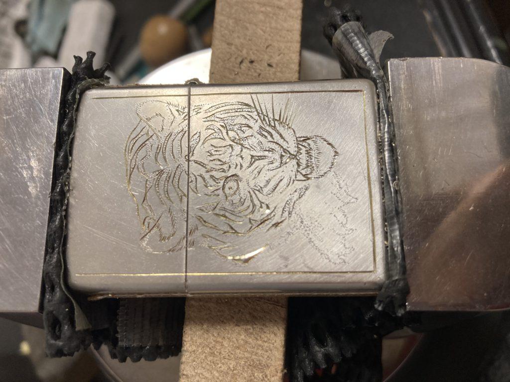真鍮zippo虎カスタムデザイン段取り1